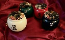 """GORGEOUS Set of 4 Ceramic Chinese 3.5""""H Jars with Fabric Covered Cork Lids Spice"""
