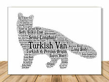 Turkish Van Personalize Name Portrait Art Print | Cat Lover Gifts | Handmade