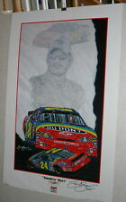 NASCAR SAM BASS JEFF GORDON DUPONT 24 SMOKIN HOT 20 X 28 SIGNED POSTER
