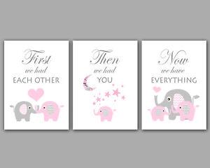 Baby Girl / Pink & Grey Elephants / Moon & Stars / Set Of 3 Prints
