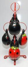 Vtg 6 Salt Pepper Ladybugs Beetles Bugs with metal Stand coldpaint
