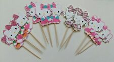 12 x HELLO KITTY Cake Picks/Cupcake Toppers Girls Birthday Party Decorations