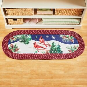 Cardinal On Holly Branch Braided Christmas Kitchen Home Accent Runner Rug