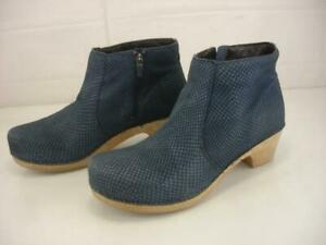 Women's 10.5 11 41 Dansko Blue Maria Snakeskin Leather Boots Bootie Clogs Zipper