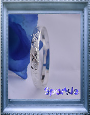 Beautiful Elegant  Girls WHITE Gold Bangle Bracelet Dimond Cut. 5-12 Years