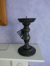 Chunky Rustic Shabby Chic Carved Pillar Church Wooden Candle Holder Stick Stand