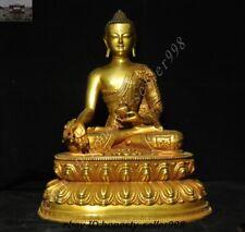 Tibet Temple Purple bronze 24k gold Sakyamuni Shakyamuni Medicine buddha Statue