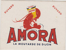 BUVARD ANCIEN PUBLICITAIRE AMORA MOUTARDE DE DIJON - HOMARD - 10.5 X 13.5 CM