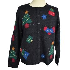 Talbots Petite PM Wool Christmas Button Up Sweater Relaxed Gifts Tree Gray Multi