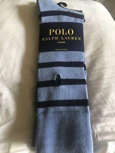 NWT 3 X PAIRS POLO RALPH LAUREN MEN GRAY BLUE STRIPED DRESSY CREW LONG SOCKS.
