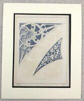 1859 Print Gothic Architecture Detail Support Arch Spandrils Antique Original