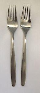 """TWO  7.75"""" DINNER Forks WMF Cromargan ACTION pattern  8/10 Stainless Korea"""