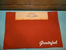 """Harvest Collection Fall-Thanksgiving-Halloween Orange """"Grateful"""" 4 Placemats"""
