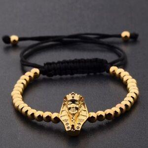 Fashion New Mens Zircon Egyptian Pharaoh Charm Bead Bracelets Macrame Bracelets