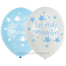2 X 6 1st Holy Communion Party Boys Blue White Helium Latex Balloons Decoration