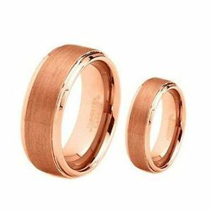 Free Engraving - Tungsten Carbide Gold Step Edge Brush Wedding Band Ring Set