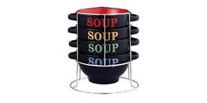 5-tlg. Suppenschalen Ständer Keramik Schalen 700 ml Suppenschüssel Dessertschale