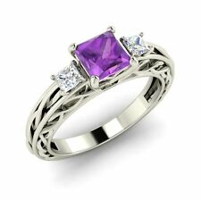Three Stone Engagement Ring With Certified Amethyst In 14k White Gold FINE EDH