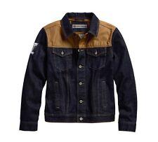 Harley-DavidsonWaxed Canvas Slim Fit Denim Jacke Gr. L - Blau Beige, Jeans