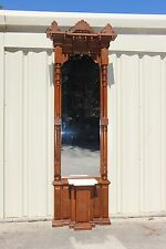 Fancy Walnut Victorian Marble Top Pier Mirror w Columns and Tulip Urn Pediments