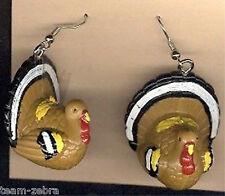 Huge Funky TURKEY EARRINGS Big Thanksgiving Holiday Bird Food Costume Jewelry