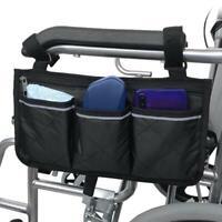 Large Capacity Wheelchair Armrest Side Bag Wheelchair Storage Organizer