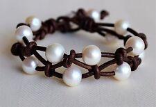 Pearl Leather Cuff Bracelet White Pearls Handmade Fashion Yevga 7.5'' long