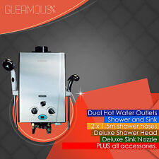 Gleamous Instant LPG Portable Gas Hot Water Camp DUAL Shower Heater 4WD Caravan