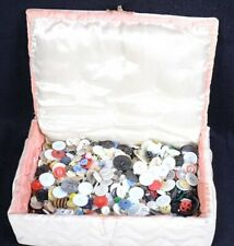 Lot of 3.1 Pounds of Various Vintage Clothing Buttons + Quilted Sewing Box