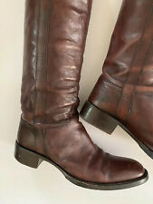 SARTORE Paris Stunning Classic Mahogany Leather Boots 37.5 7.5 8