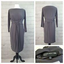 Jones New York Dress Sz 10 Gray 3/4 Sleeve Midi Dress Ruching Draped Knot Front