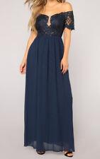 Soieblu Formal Dress Chiffon Navy Off Shoulder Short Sleeve Mesh Size S