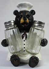 BLACK BEAR CHEF SALT & PEPPER SHAKER HOLDER Kitchen Dining Table Wildlife NEW