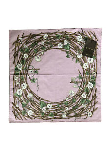 NWT Gucci Pink Cotton Small Square Scarf Nest Bluebell Motif Japan Exclusive