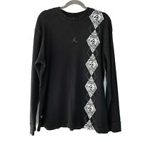 JORDAN Label Jumpman 23 Men's LARGE Thermal Long Sleeve Shirt Black