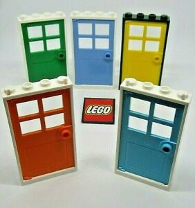 LEGO DOORS in FRAMES 1x4x6 with 4 Panes and Stud Handle - Choose Colours 60623