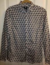 H&M Mens M Gray Black White Geometric Print Long Sleeve Button Down Dress Shirt