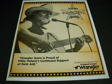 WILLIE NELSON Wrangler Jeans supports Farm Aid 1986 original PROMO DISPLAY AD