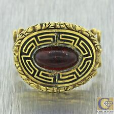 Red Stone Black Enamel Ring Z9 1820s Antique Georgian Estate 14k Yellow Gold