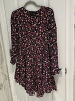 H&M Women's Black Pink Floral Long Sleeve Hankerchief Short Dress - Size 8