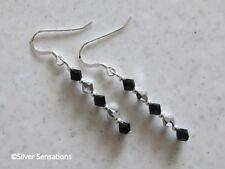 Elegante Negro y Plateado Pendientes de plata esterlina Delgado con cristales de Swarovski