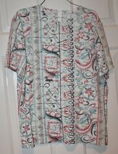 SUMMER BLOUSE SIZE 12P - CRICKET LANE -GREEN and MULTI COLOR FLORAL-SHORT SLEEVE
