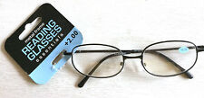 Black Metal Frame Reading Glasses Magnification +2.00 new with tags