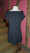 UK12 Graphite & Black Sleeveless Dress in a Geometric Leaf Viscose Blend by Next