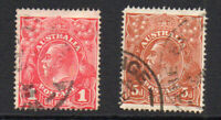 Australia 1d Carmine Red & 5d Stamp c1914-15 Used (1081)