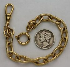 Civil War Style Pocket Watch Chain 14k Gold Plated Oval Etched Links