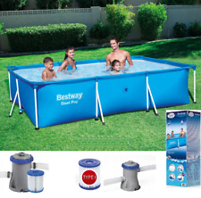 7in1 BestWay SWIMMING POOL 300 x 201 Rectangular Garden Above Ground Pool + PUMP