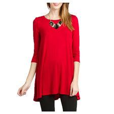 Women Boatneck Tunic Top USA Dolman 3/4 Sleeve Dress Top Knit Blouse S M L PLUS