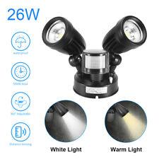 More details for 26w led dual head floodlight pir motion light sensor garden security spot lights