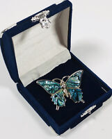 Vintage Brooch Silver Tone & Abalone Paua Shell Butterfly Dainty Pretty Costume